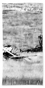 Black And White Of Old Farm Equipment Beach Towel