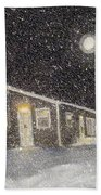 Blizzard At The Cabin Beach Towel by Barbara Griffin