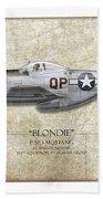 Blondie P-51d Mustang - Map Background Beach Towel