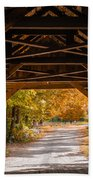 Blow-me-down Covered Bridge Cornish New Hampshire Beach Towel by Edward Fielding
