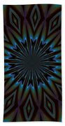 Blue And Brown Floral Abstract Beach Towel