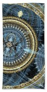 Blue And Gold Mechanical Abstract Beach Towel