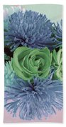 Blue And Green Flowers Beach Towel