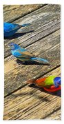 Blue And Indigo Buntings - Three Little Buntings Beach Towel