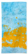 Blue And Orange Wall Texture Beach Towel