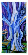 Blue And Purple Girl With Tree And Owl Beach Towel