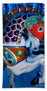 Blue And Red Carousel Horse Beach Towel