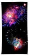 Blue And Red Firework Disks Beach Towel