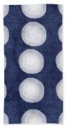 Blue And White Shibori Balls Beach Towel
