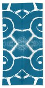 Blue And White Wave Tile- Abstract Art Beach Towel