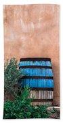 Blue Barrel With Adobe Beach Towel