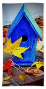 Blue Bird House Beach Towel