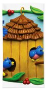 Blue Birds Fly Home Beach Towel by Amy Vangsgard
