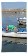 Blue Boat In Sozopol Harbour Beach Towel