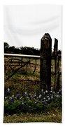 Blue Bonnet Fence V4 Beach Towel