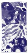 Blue Bouquet- Contemporary Abstract Floral Art Beach Towel