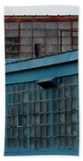 Blue Building Windows Beach Towel