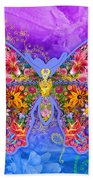 Blue Butterfly Floral Beach Towel