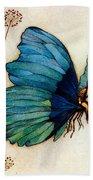 Blue Butterfly II Beach Towel by Warwick Goble