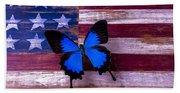 Blue Butterfly On American Flag Beach Sheet