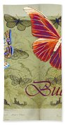 Blue Butterfly - Orange On Green - S02a Beach Towel by Variance Collections