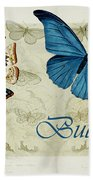 Blue Butterfly - S01a Beach Towel by Variance Collections