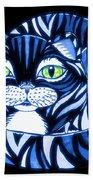 Blue Cat Green Eyes Beach Towel