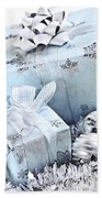 Blue Christmas Gift Boxes Beach Towel