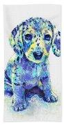Blue Dapple Dachshund Puppy Beach Towel by Jane Schnetlage