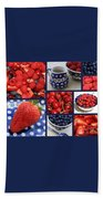 Blue Dishes And Fruit Collage Beach Towel