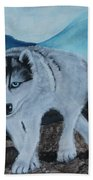 Blue Eyed Husky Beach Towel