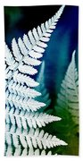 Blue Fern Leaf Art Beach Towel