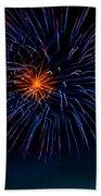 Blue Firework Flower Beach Towel by Robert Bales