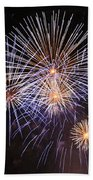 Blue Fireworks At Night Beach Towel