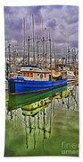 Blue Fishing Boat Hdr Beach Towel