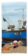 Blue Fishing Boat Beach Towel