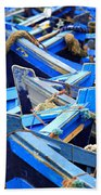 Blue Fishing Boats Beach Sheet