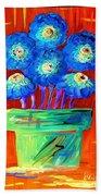 Blue Flowers On Orange Beach Towel