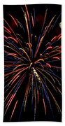 Blue Gold Pink And More - Fireworks And Moon Beach Towel