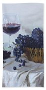 Blue Grapes And Wine Beach Towel by Ylli Haruni