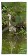 Blue Heron Hiding Reflection Beach Towel