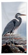 Blue Heron In The Circle Of Light Beach Towel
