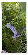 Blue Heron Journey I Beach Towel