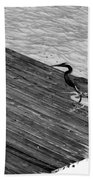 Blue Heron On Dock - Grayscale Beach Towel