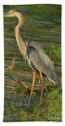 Blue Heron On The Bank Beach Towel