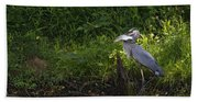 Blue Heron With A Fish-signed Beach Towel