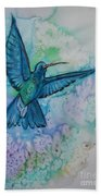 Blue Hummingbird In Flight Beach Towel