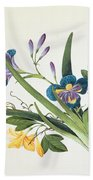 Blue Iris And Insects Beach Towel