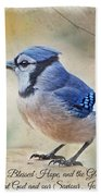 Blue Jay With Verse Beach Towel