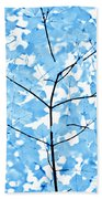 Blue Leaves Melody Beach Towel by Jennie Marie Schell